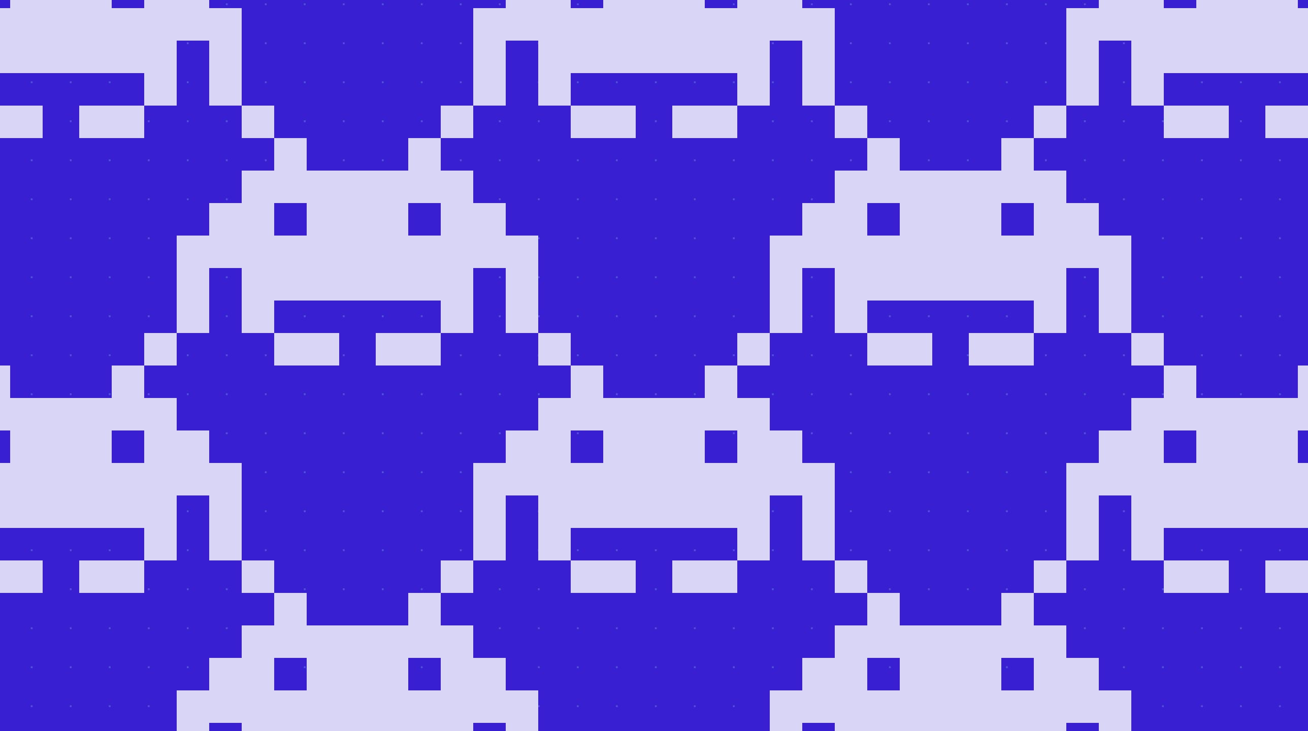 Space Invaders alien in a grid pattern with Stark purple colors
