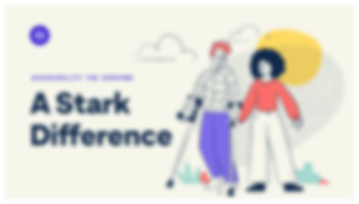 The Stark website shown with a blurred vision simulator applied