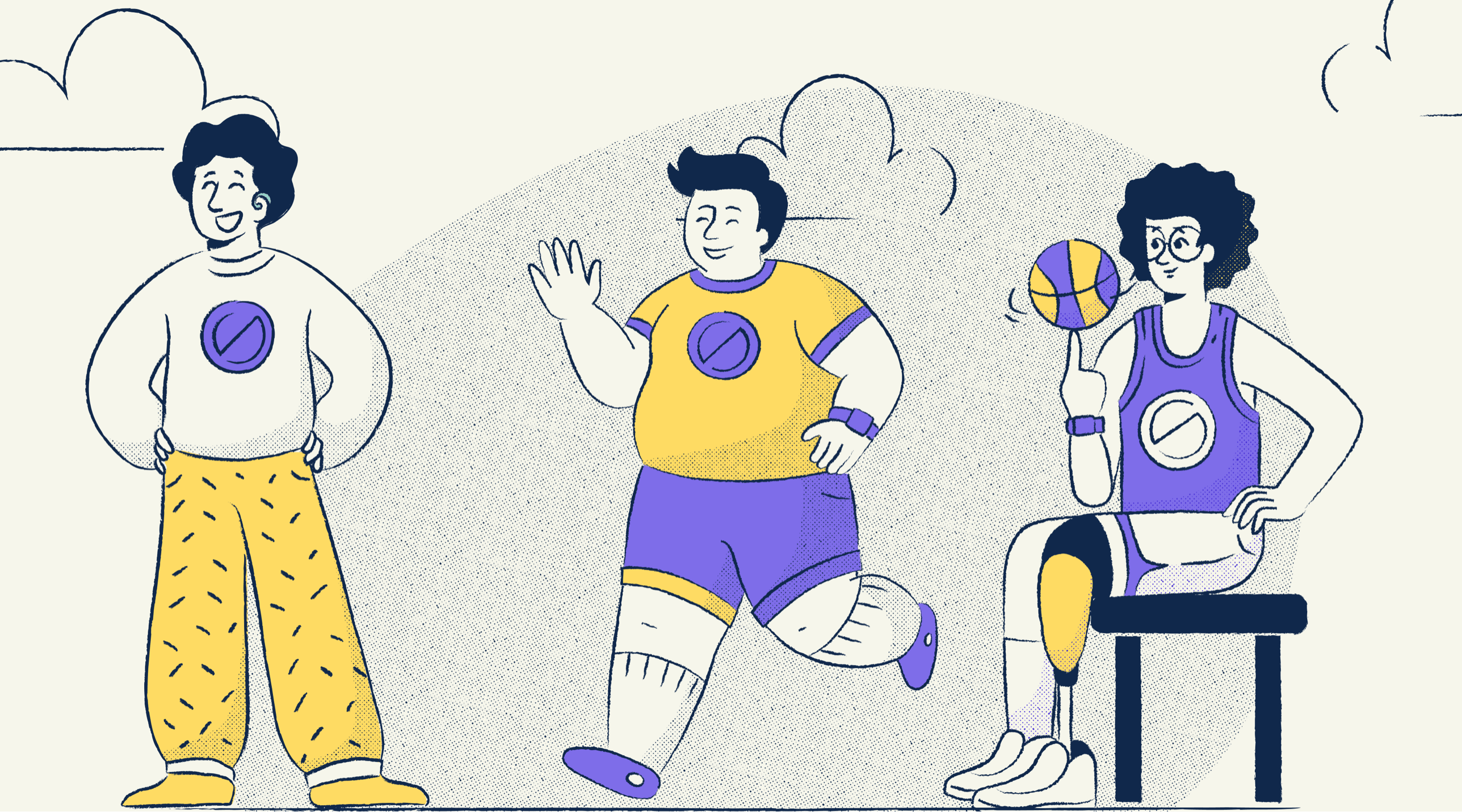 Illustration of 3 team members with various disabilities