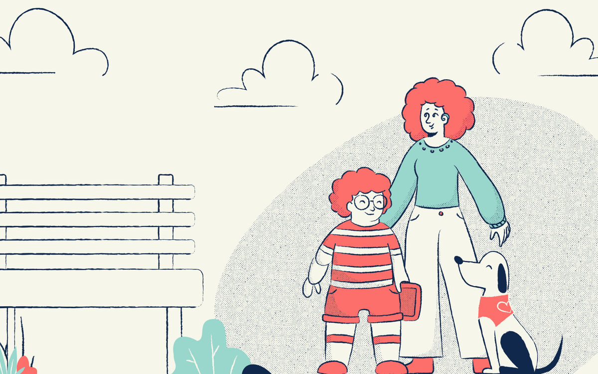Illustration of a park with a bench, flowers, and clouds. A woman with a hearing aid is walking there with her child that is holding an augmentative and alternative communication device, and their support dog waits at their heel.