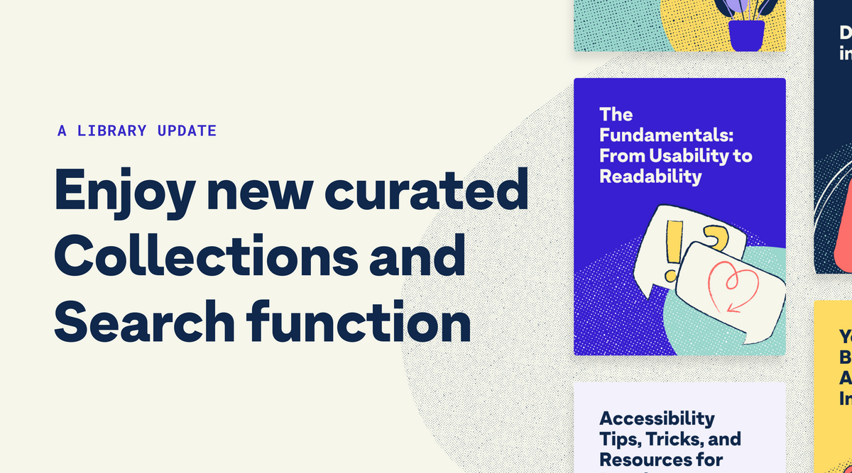 """Image shows our public library's new collections on the right side and text that reads, """"A library update, enjoy new curated collections and search function"""" on the left."""