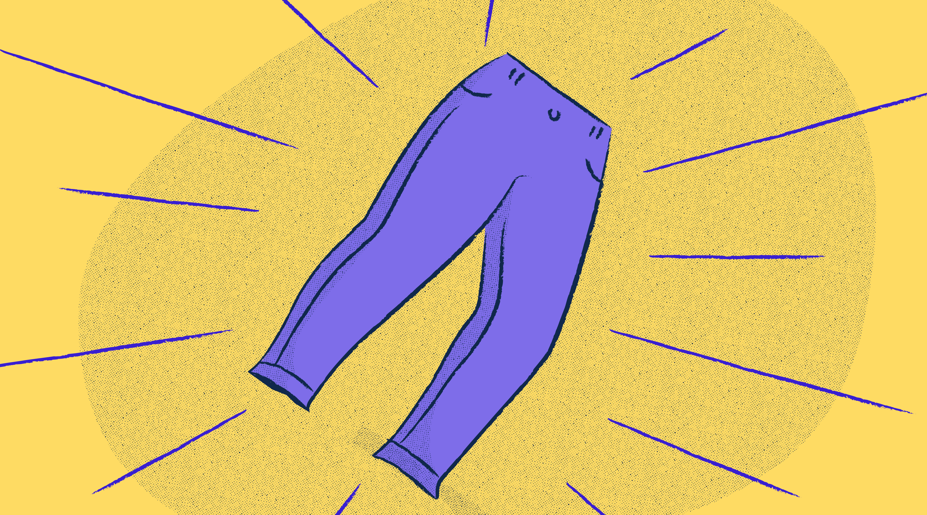 Flying purple pants against a yellow background.