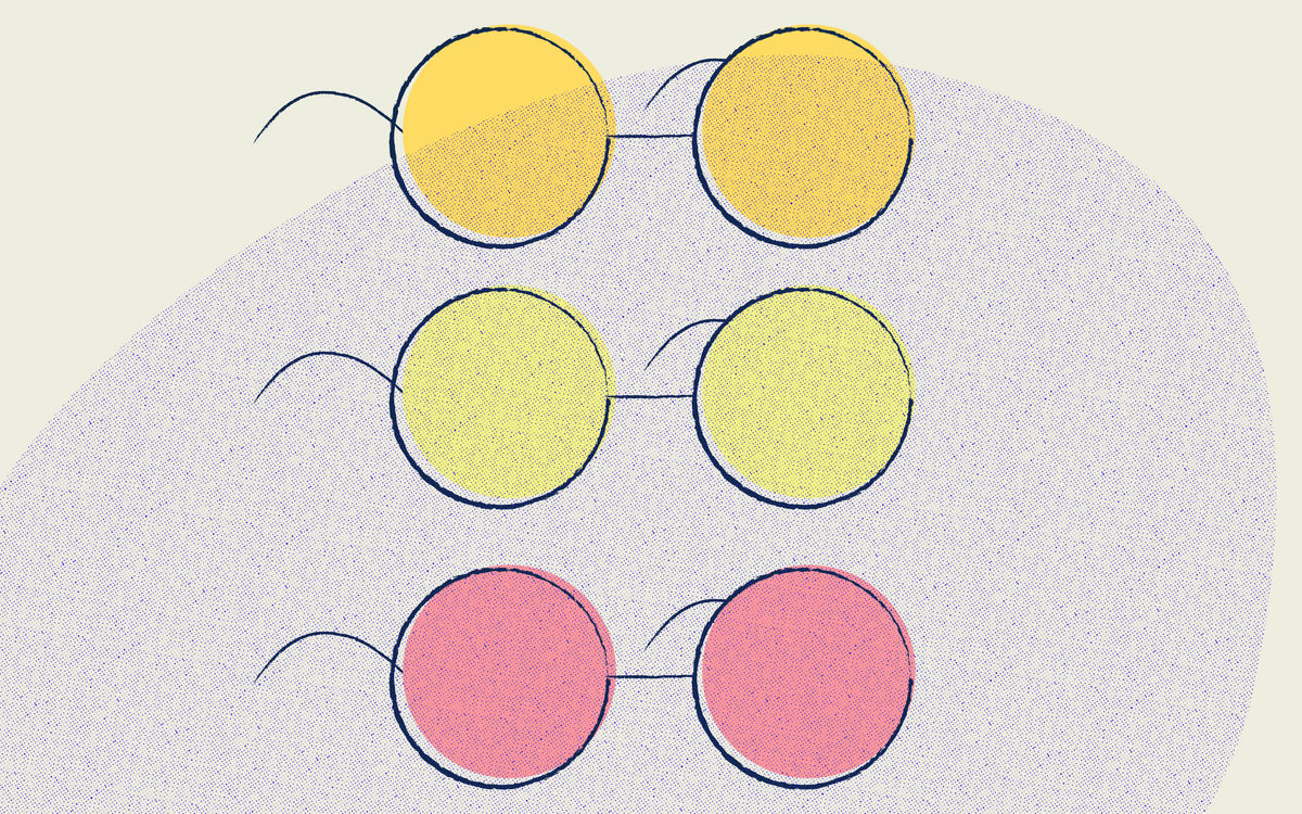 An illustration of three pairs of eyeglasses. The glasses are stacked vertically, and the lenses are all different colors, revealing what people with color blindness may see.