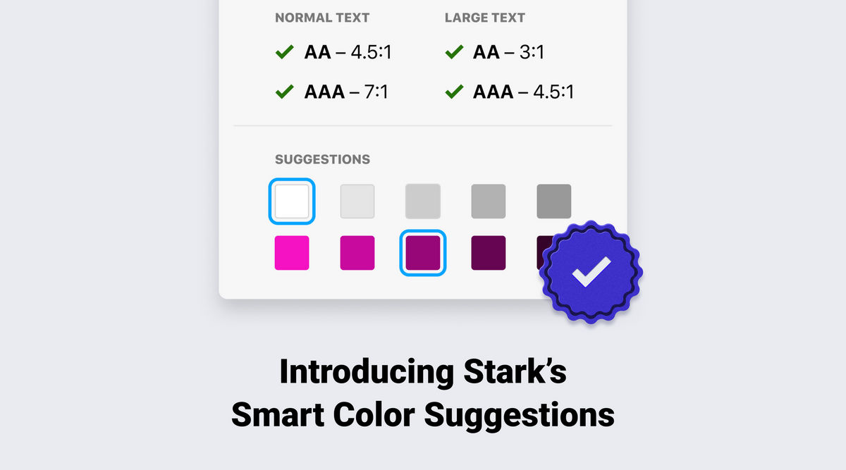 Stark color suggestions showing after a failed contrast check with a large purple checkmark