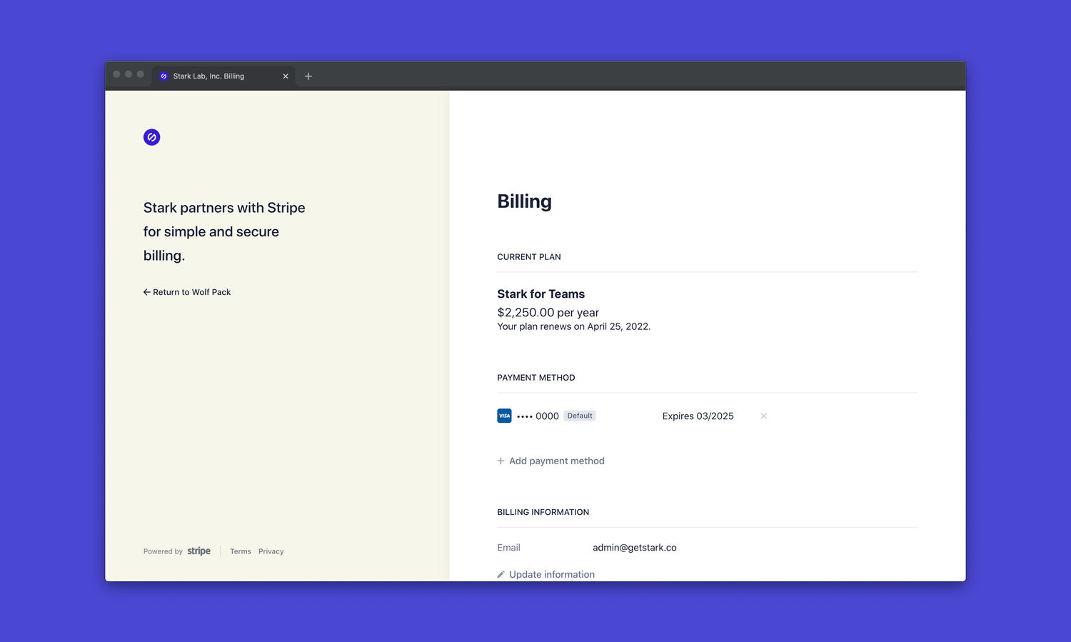 A user interface of Stripe's user portal. The portal shows a team's most recent invoice, highlighting their current plan and billing information.