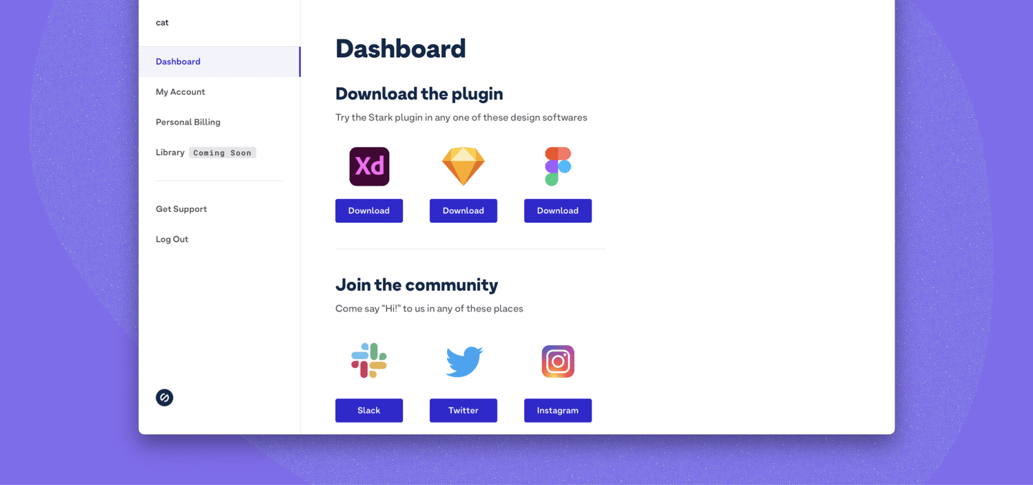 Image shows the Stark dashboard with download buttons for Figma, Adobe XD, and Sketch