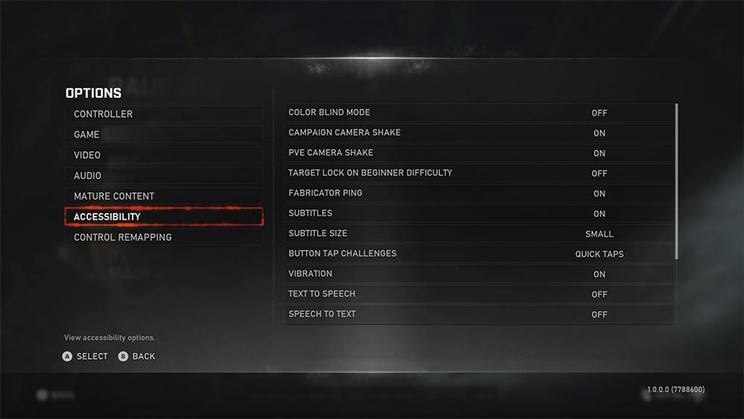 Accessibility options in Gears of War 5