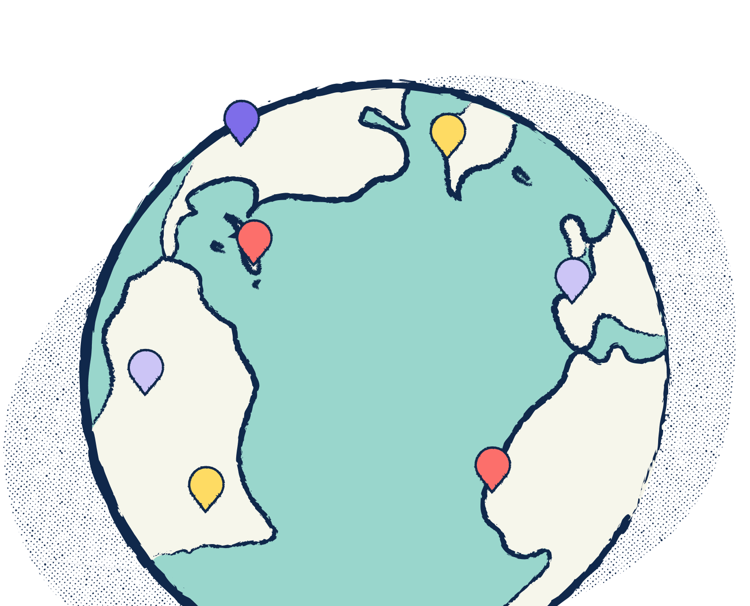 Stylized illustration of a globe with GPS markers on various countries